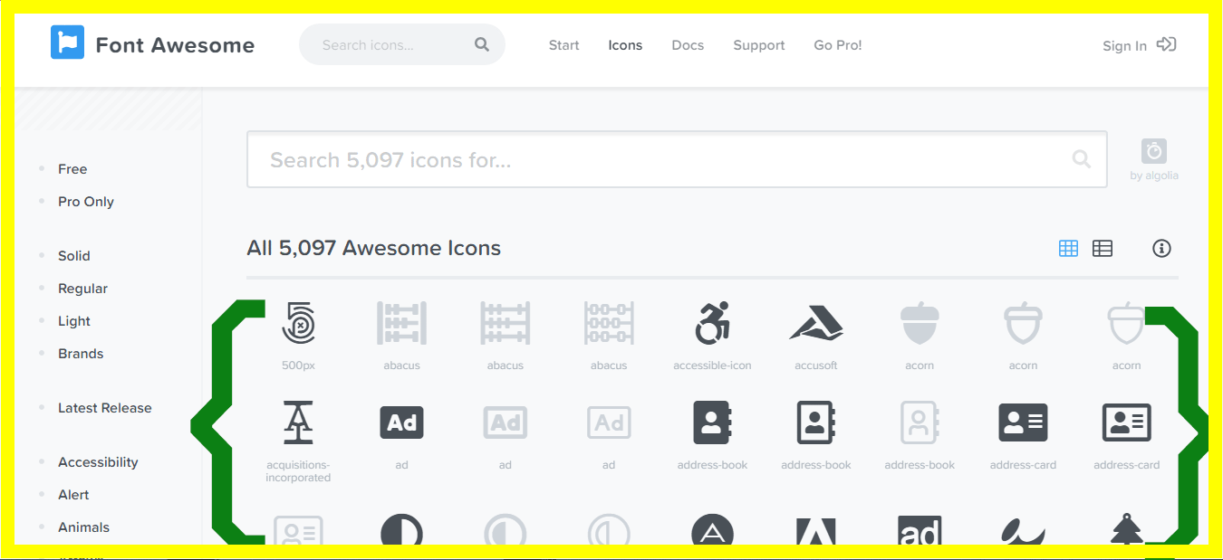 iconos para escoger