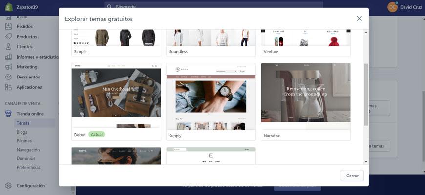 tienda de temas en shopify